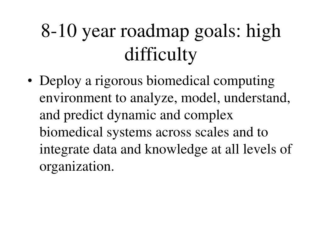 8-10 year roadmap goals: high difficulty