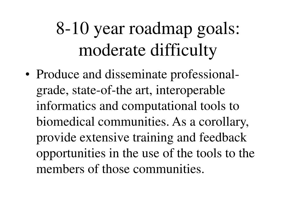 8-10 year roadmap goals: moderate difficulty