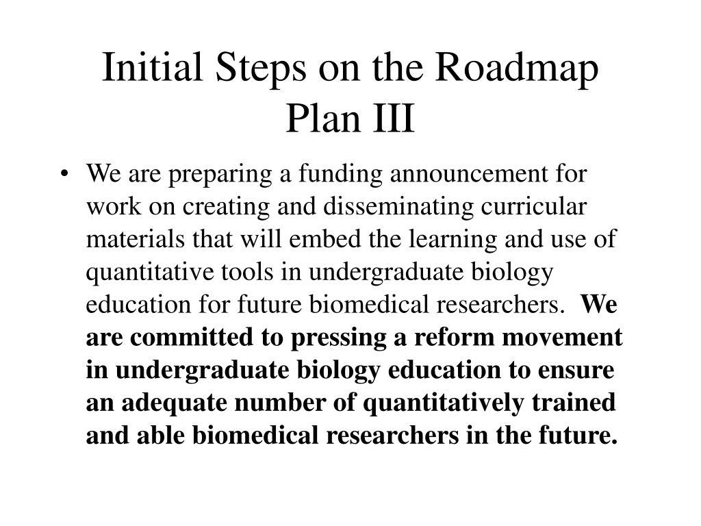 Initial Steps on the Roadmap Plan III
