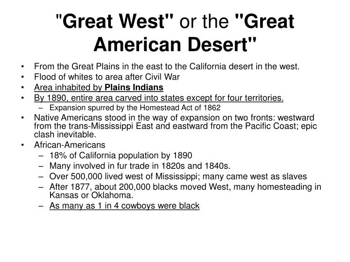 Great west or the great american desert