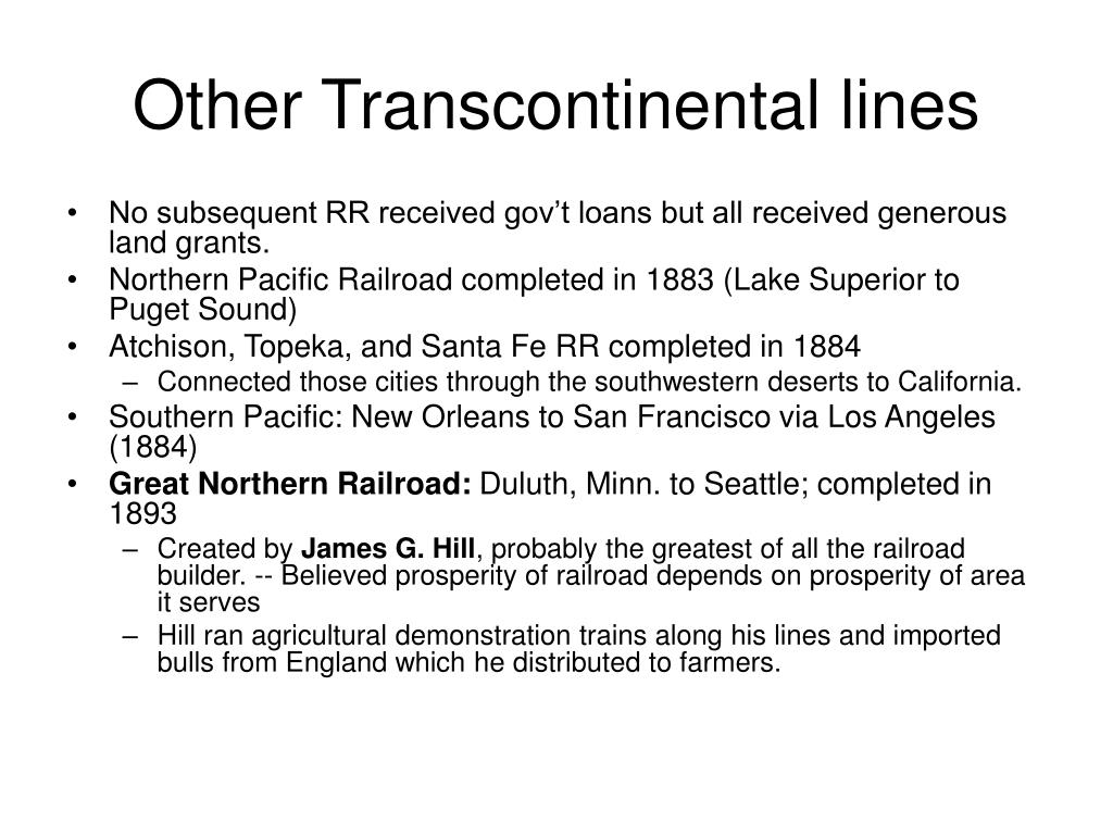 Other Transcontinental lines