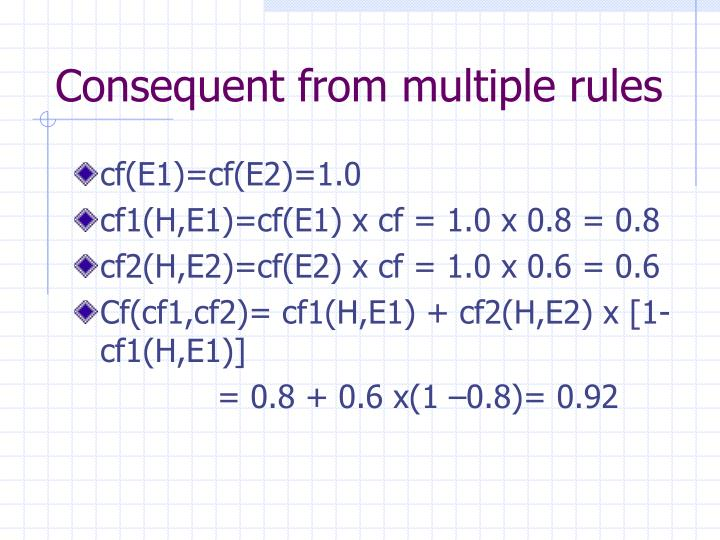 Consequent from multiple rules