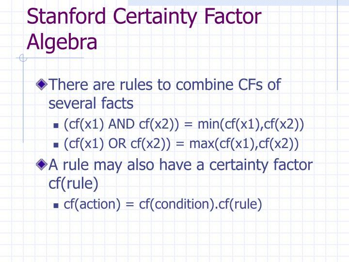 Stanford Certainty Factor Algebra