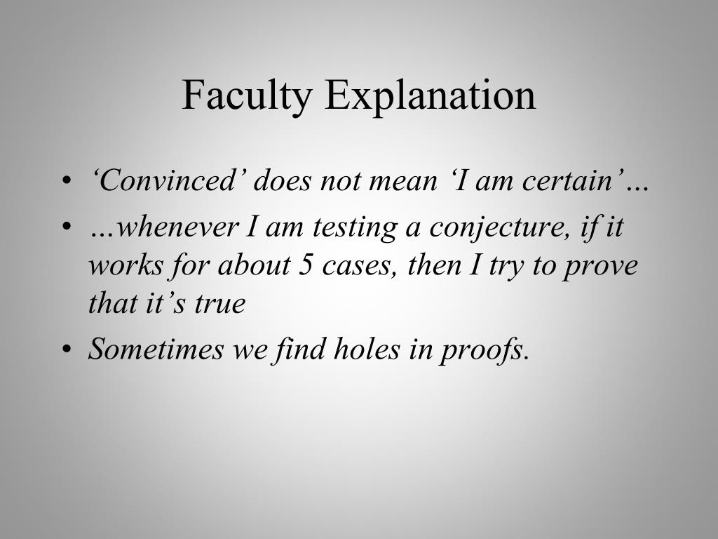 Faculty Explanation