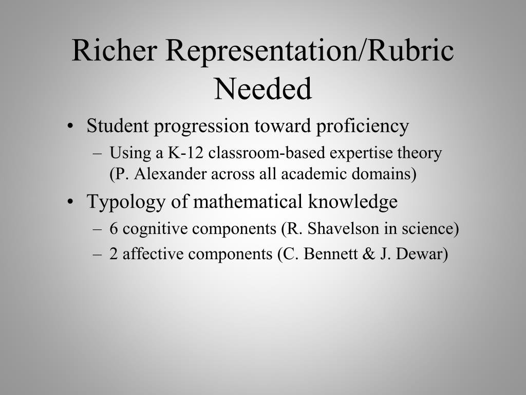 Richer Representation/Rubric Needed