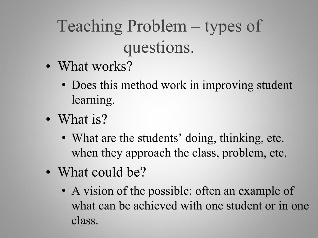 Teaching Problem – types of questions.