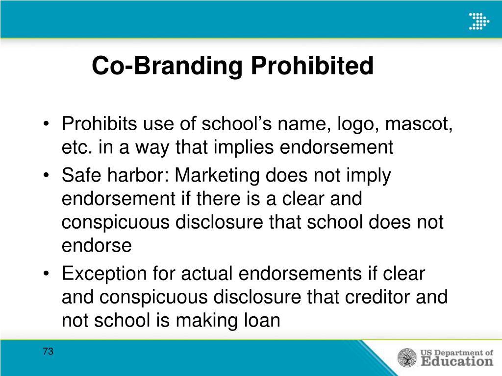 Co-Branding Prohibited