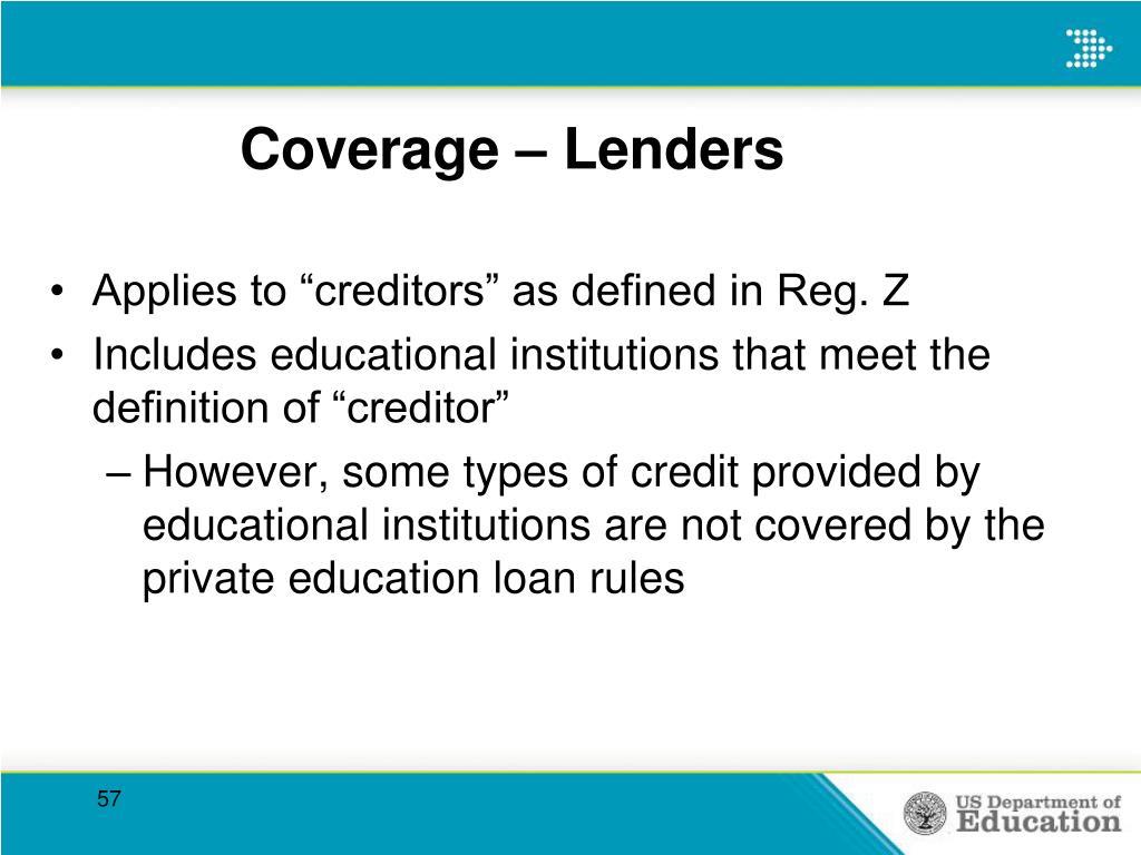Coverage – Lenders