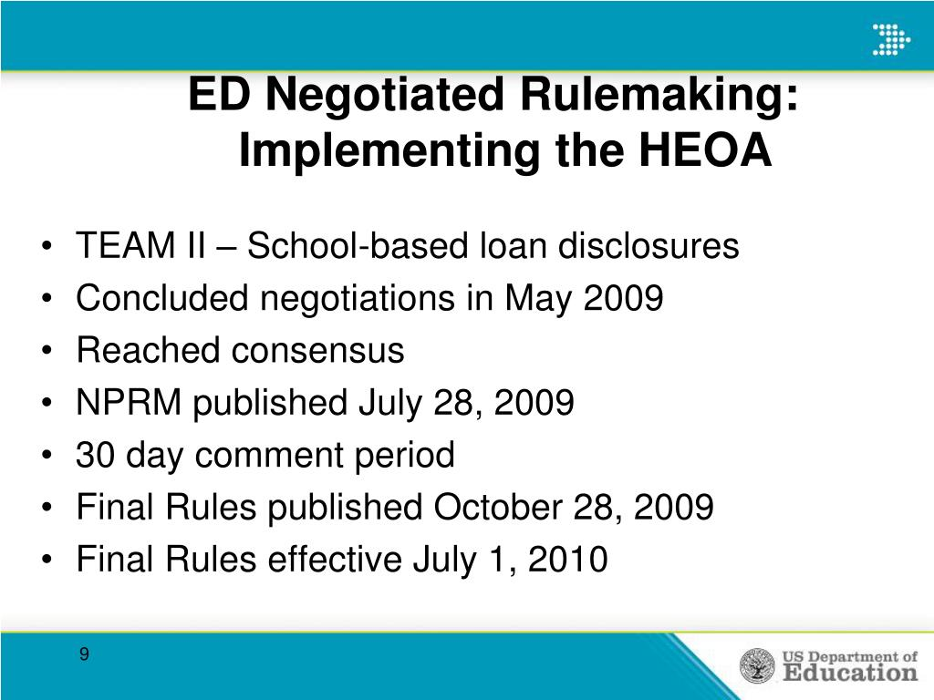 ED Negotiated Rulemaking:
