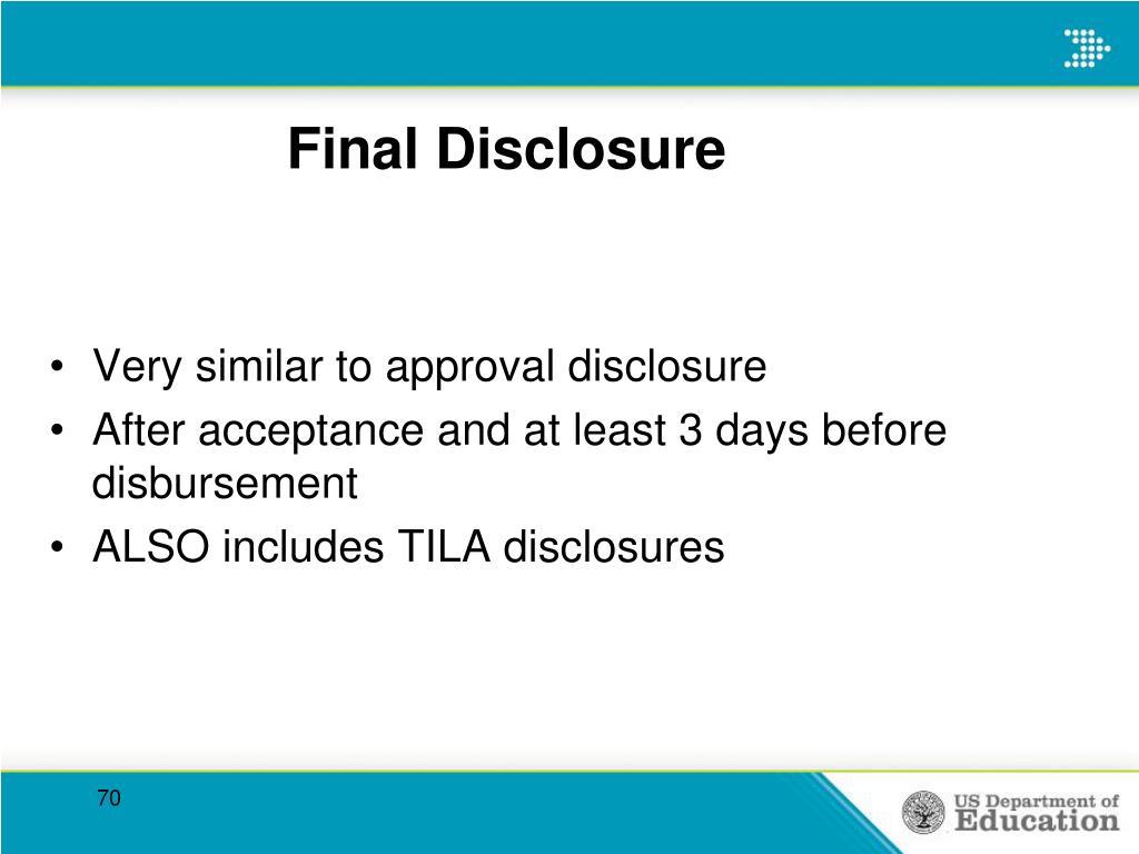 Final Disclosure