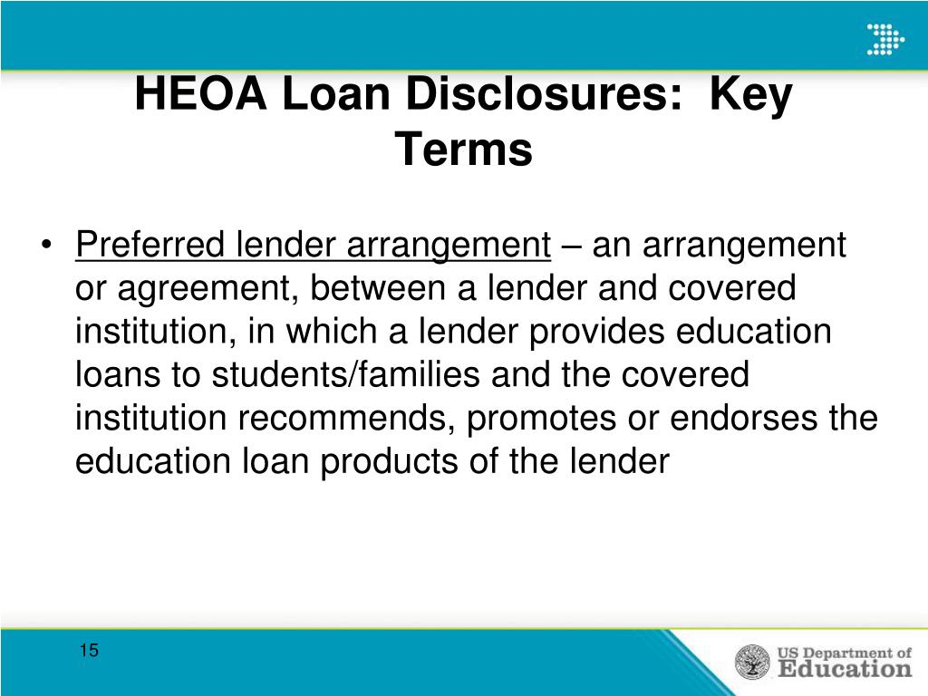 HEOA Loan Disclosures:  Key Terms