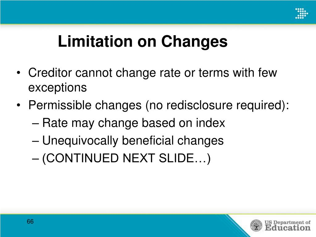 Limitation on Changes