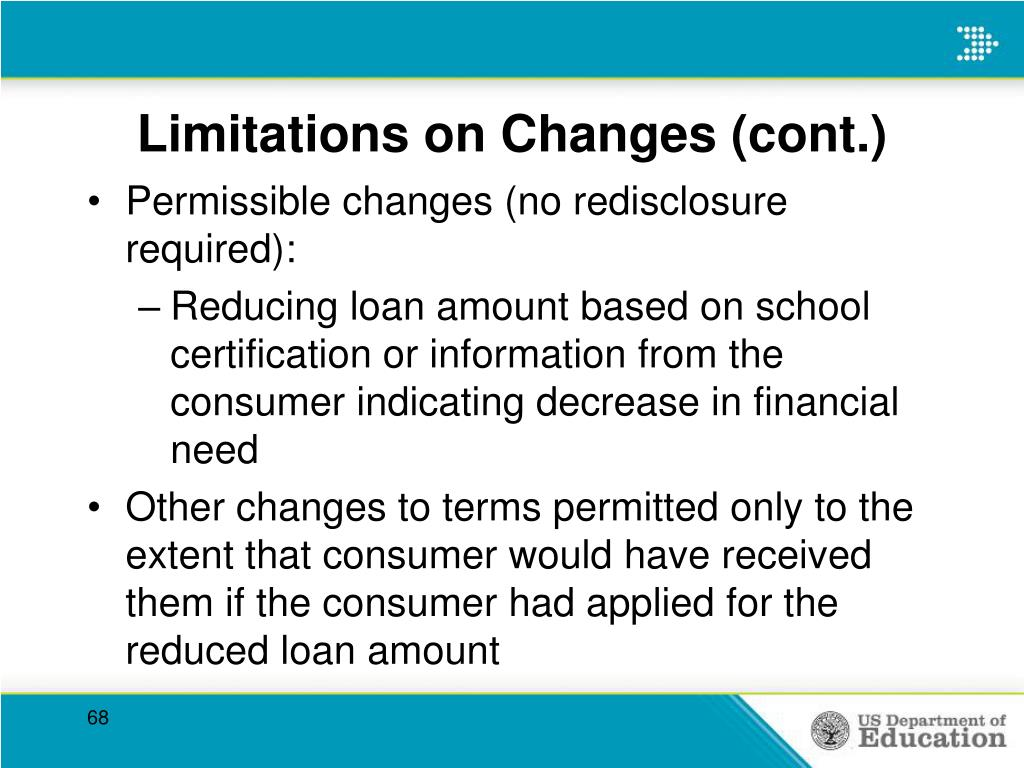 Limitations on Changes (cont.)