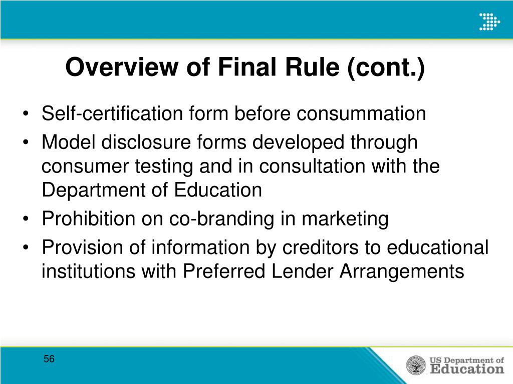 Overview of Final Rule (cont.)