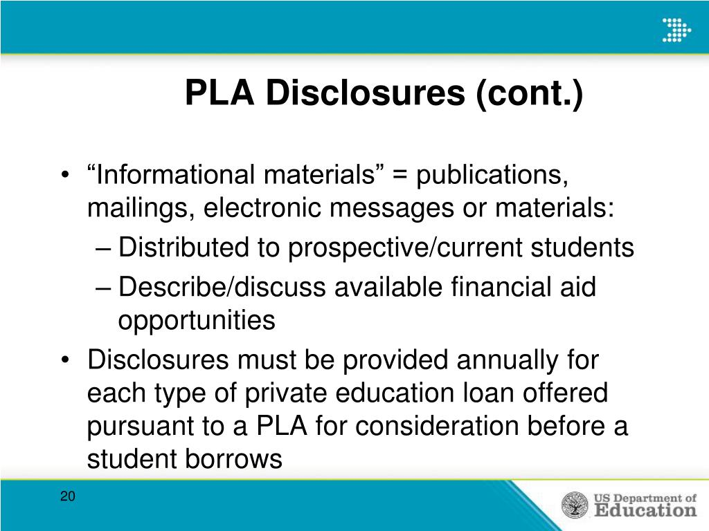PLA Disclosures (cont.)
