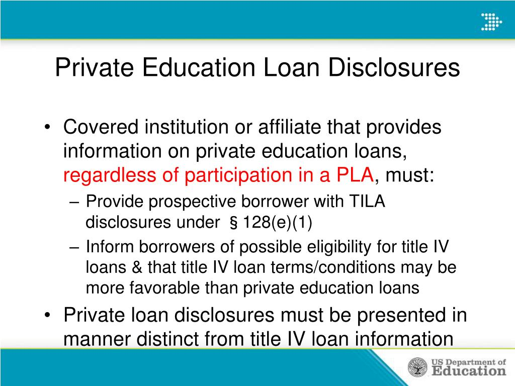 Private Education Loan Disclosures