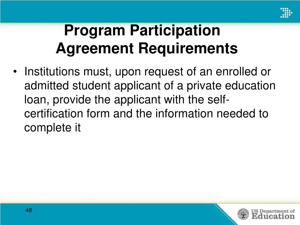 Program Participation   Agreement Requirements
