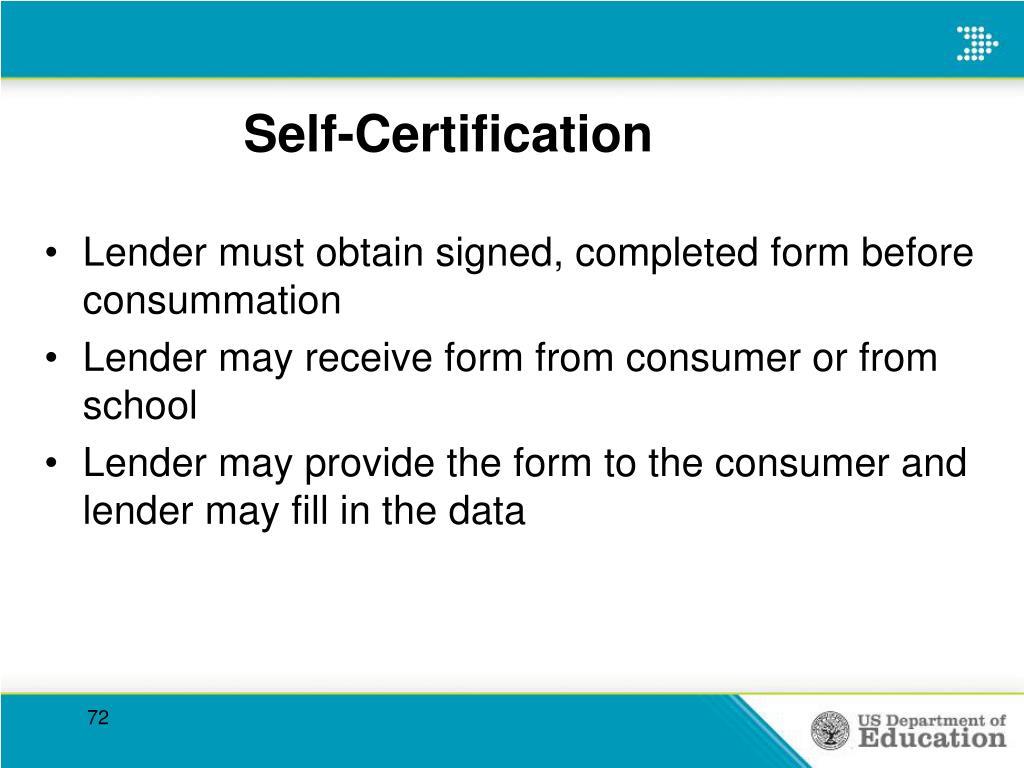 Self-Certification