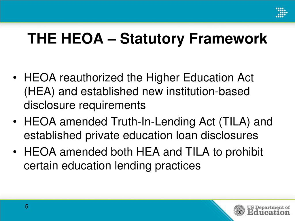 THE HEOA – Statutory Framework