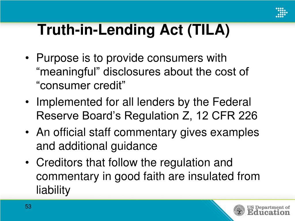 Truth-in-Lending Act (TILA)