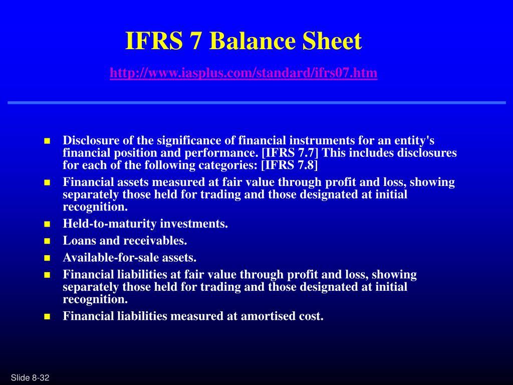 IFRS 7 Balance Sheet
