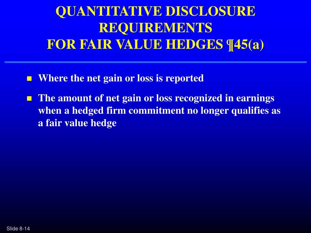 QUANTITATIVE DISCLOSURE REQUIREMENTS