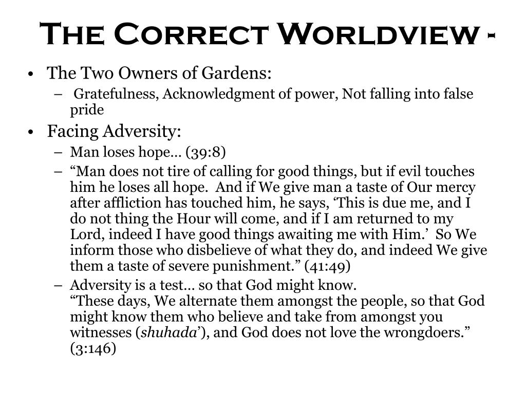 The Correct Worldview -