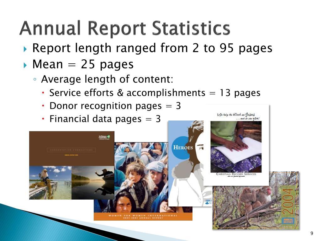 Annual Report Statistics