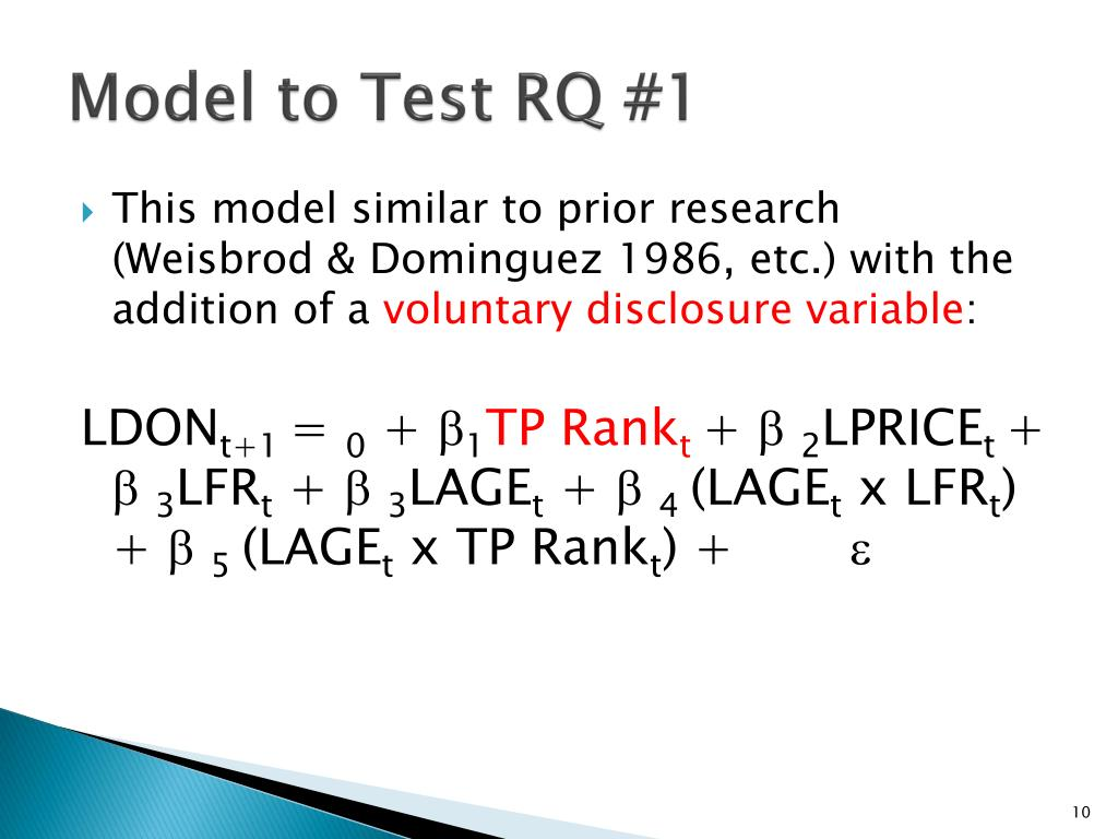 Model to Test RQ #1