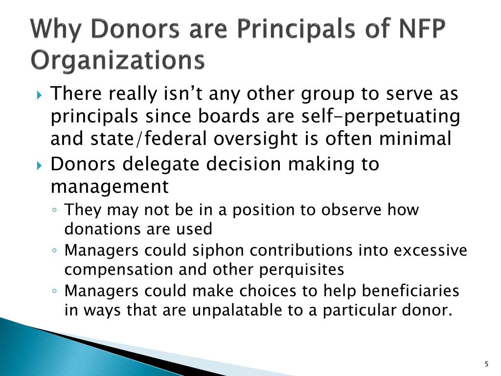 Why Donors are Principals of NFP Organizations