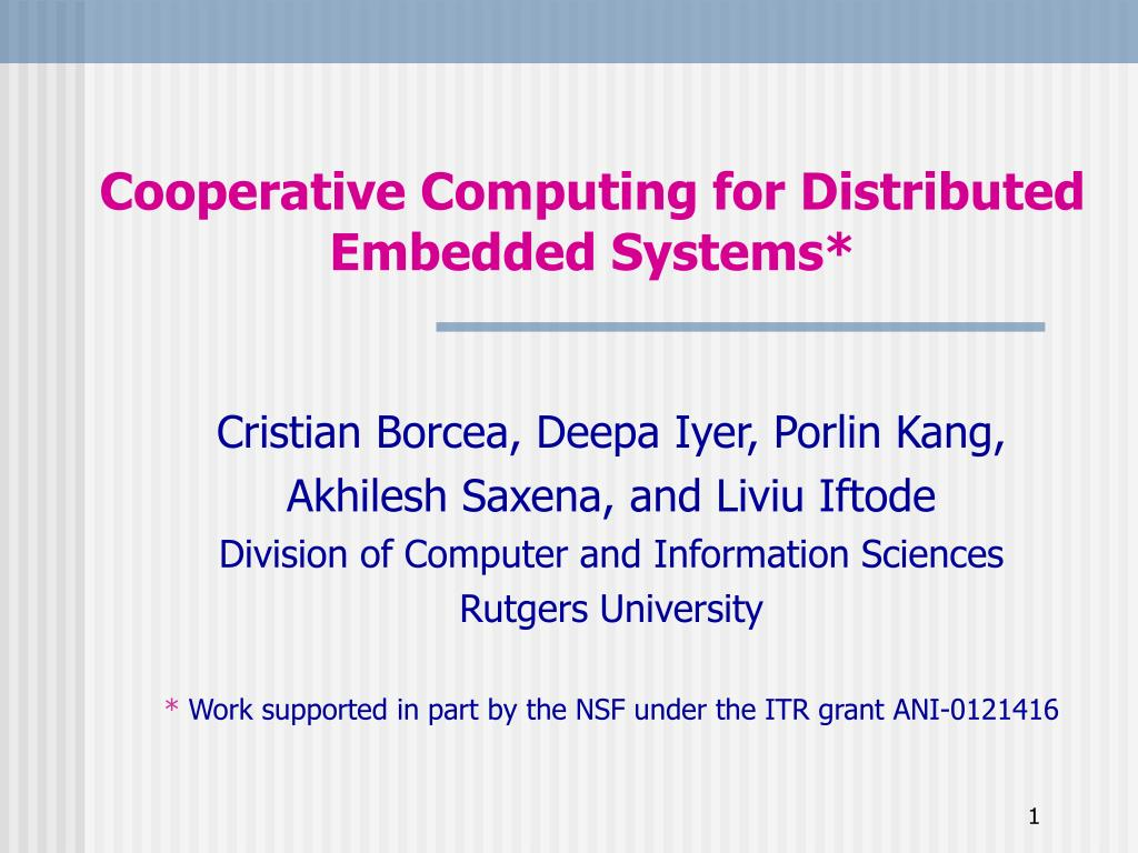 Cooperative Computing for Distributed Embedded Systems*