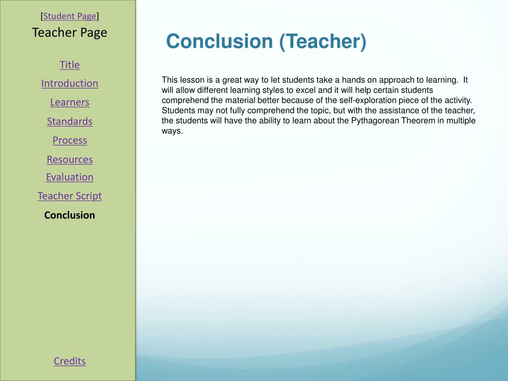 Conclusion (Teacher)