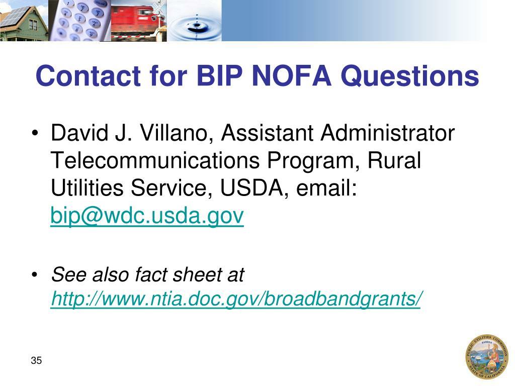 Contact for BIP NOFA Questions