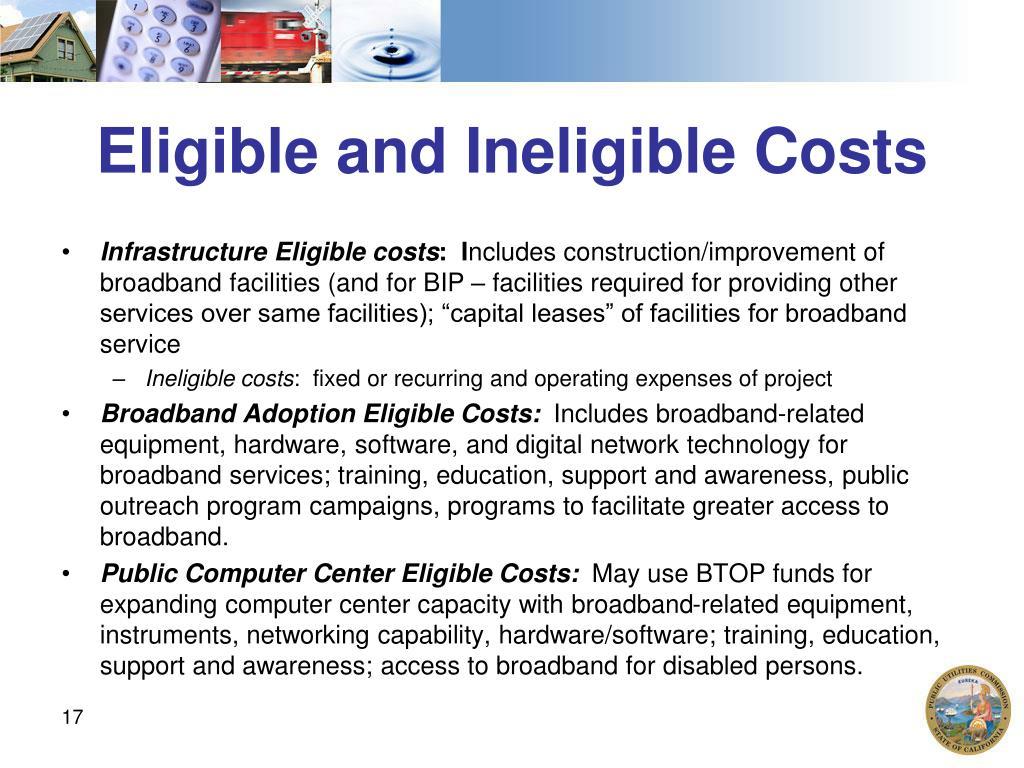 Eligible and Ineligible Costs
