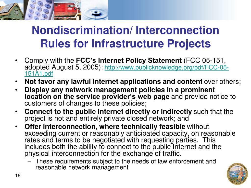 Nondiscrimination/ Interconnection Rules for Infrastructure Projects