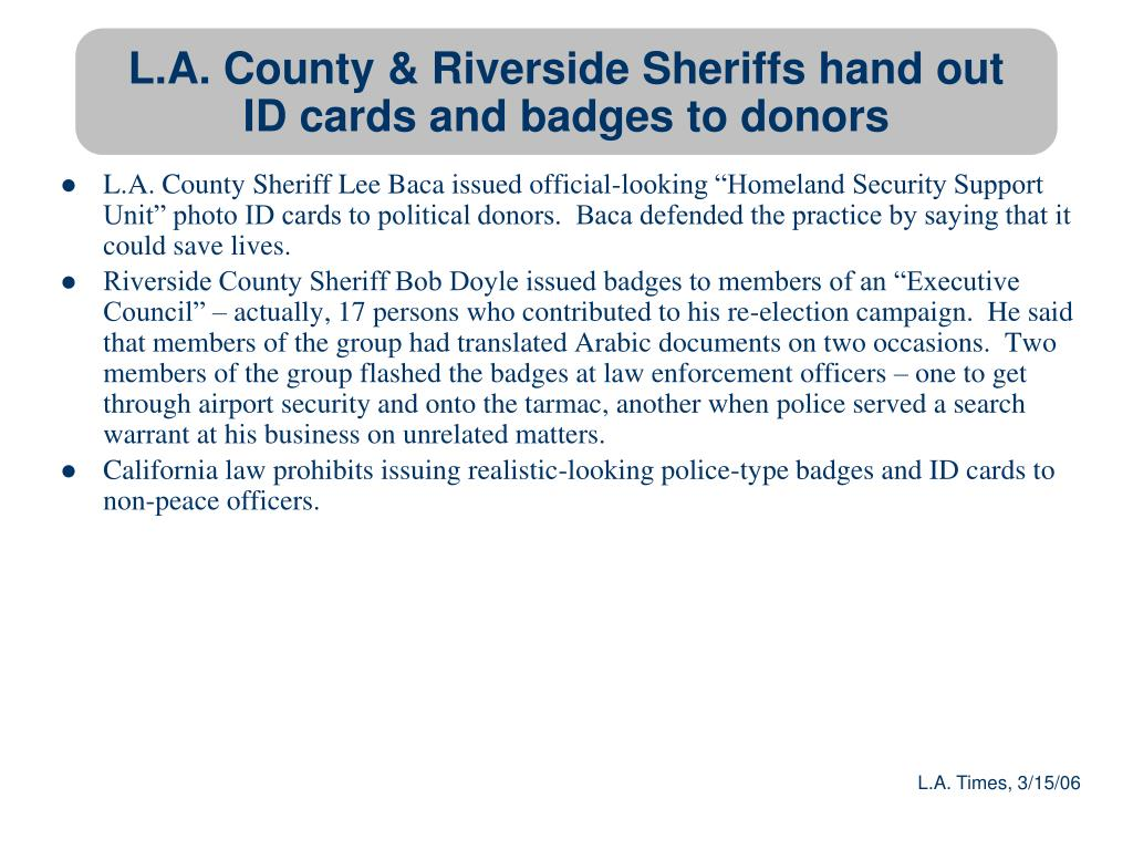 L.A. County & Riverside Sheriffs hand out