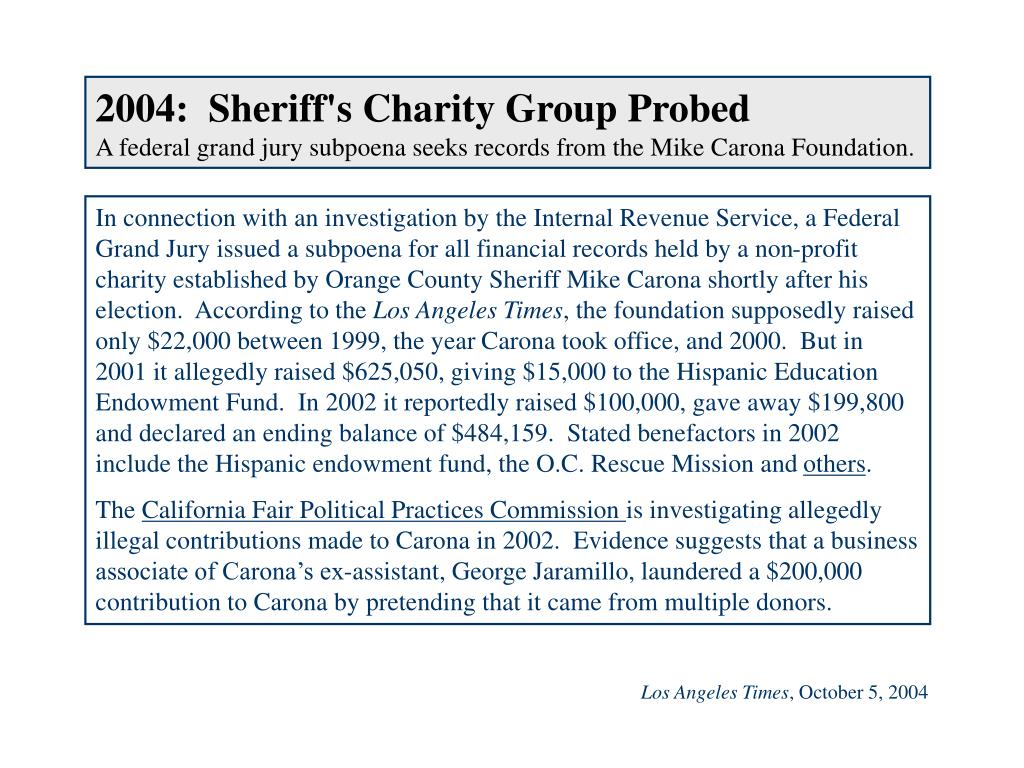 2004:  Sheriff's Charity Group Probed