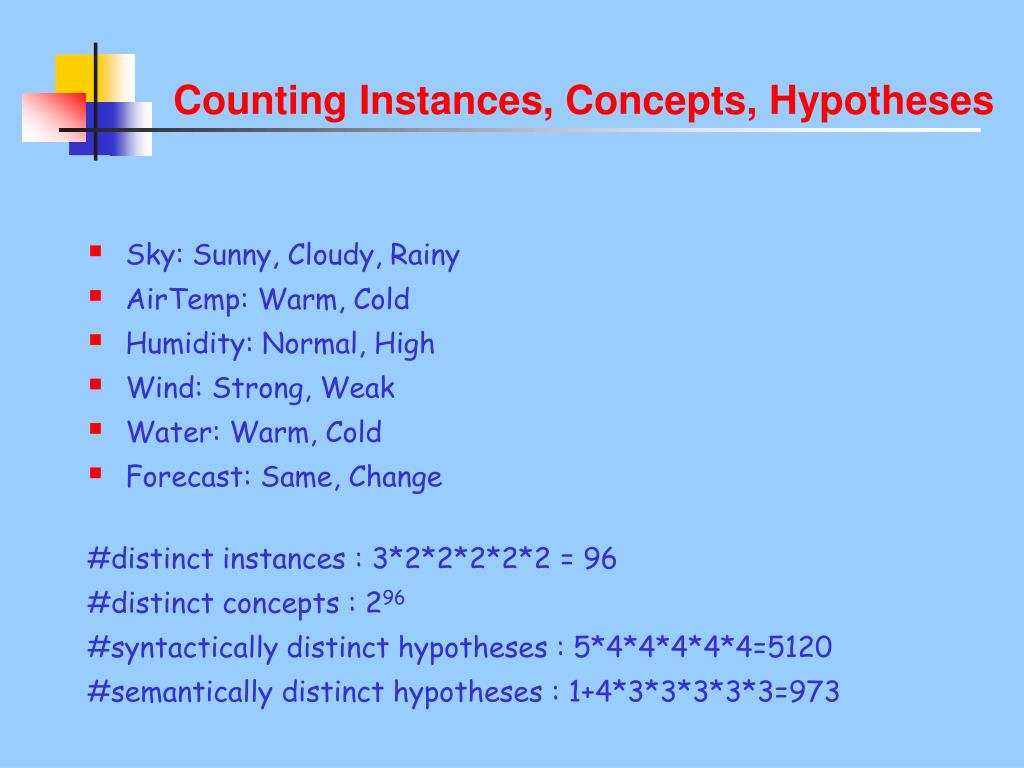 Counting Instances, Concepts, Hypotheses
