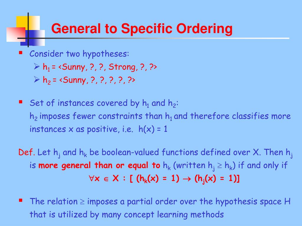 General to Specific Ordering