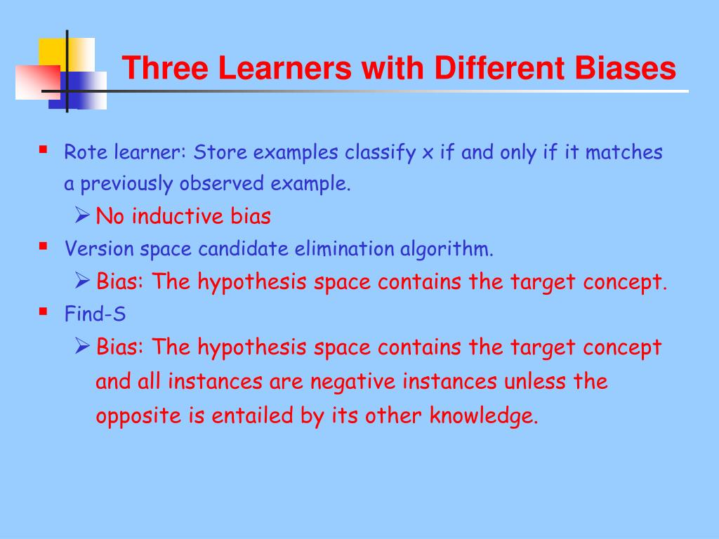 Three Learners with Different Biases