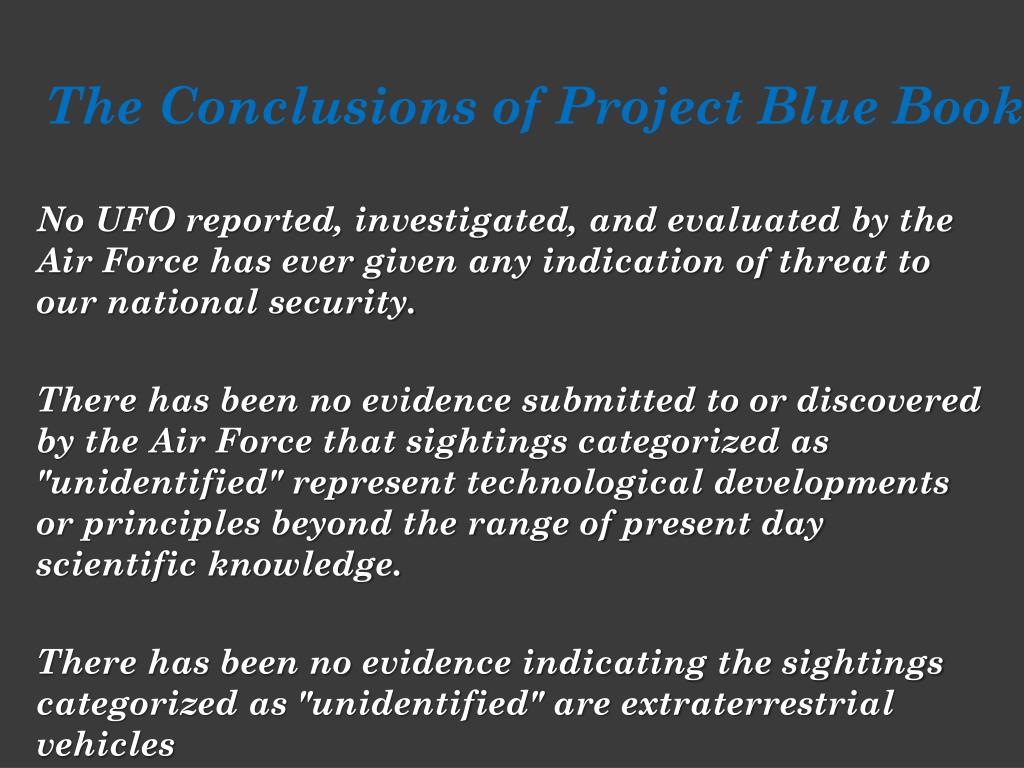 The Conclusions of Project Blue Book