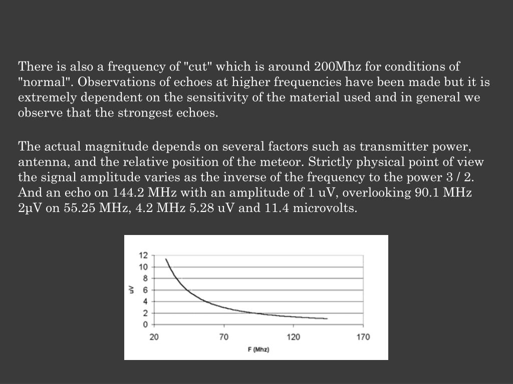 """There is also a frequency of """"cut"""" which is around 200Mhz for conditions of """"normal"""". Observations of echoes at higher frequencies have been made but it is extremely dependent on the sensitivity of the material used and in general we observe that the strongest echoes."""