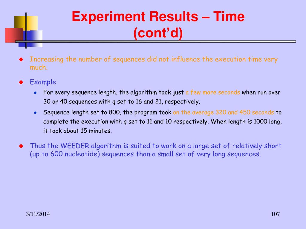 Experiment Results – Time (cont'd)