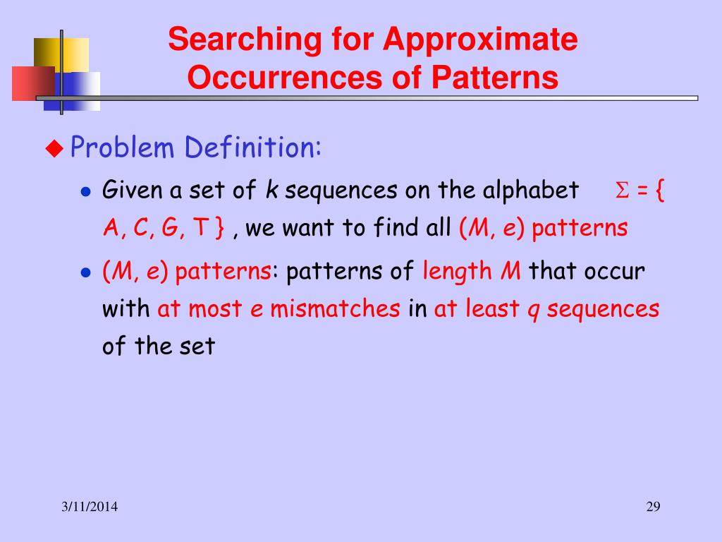 Searching for Approximate Occurrences of Patterns