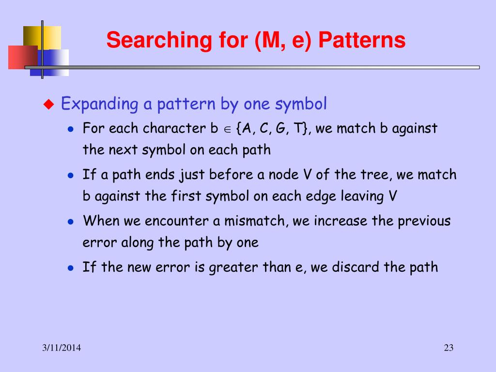 Searching for (M, e) Patterns