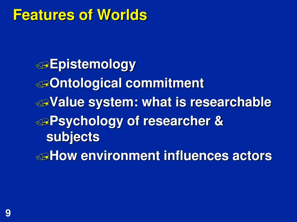 Features of Worlds