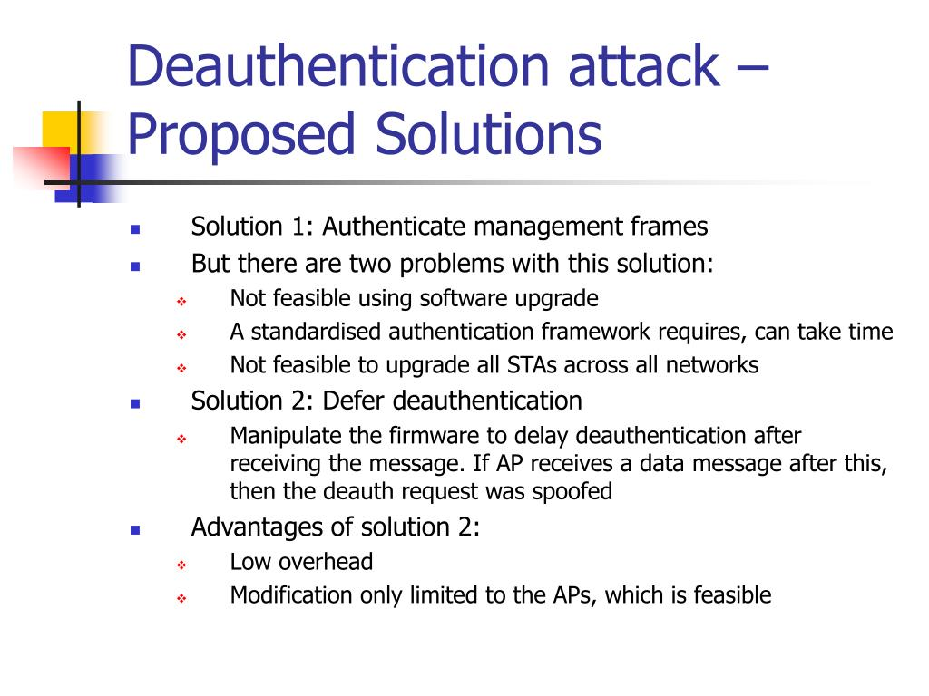 Deauthentication attack – Proposed Solutions