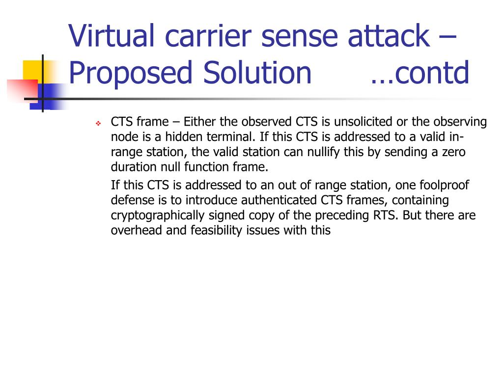Virtual carrier sense attack – Proposed Solution      …contd