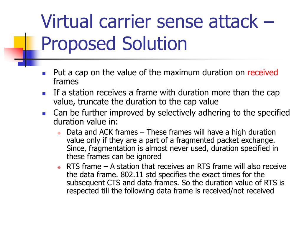 Virtual carrier sense attack – Proposed Solution