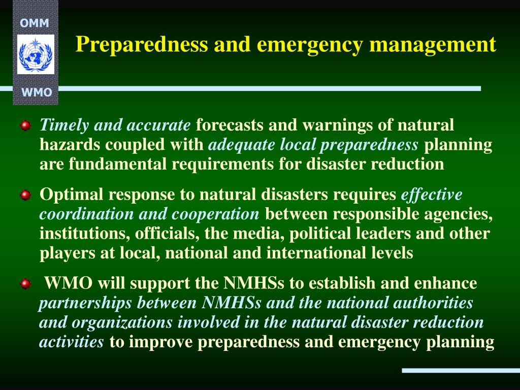 Preparedness and emergency management
